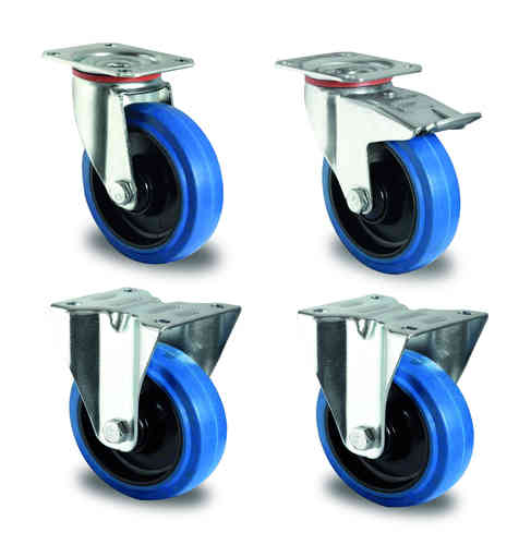 Wheel set 100 mm full rubber, blue (additional costs)