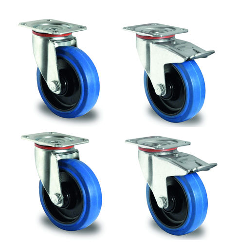Svivel wheel set 100 mm rubber, blue 2 breaks (additional costs)