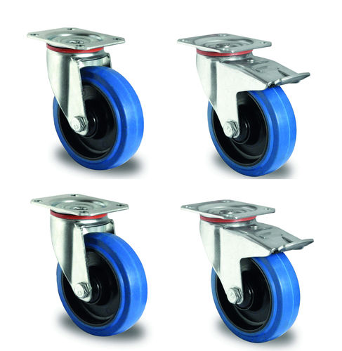 Set de roulettes pivotantes 125 mm caoutchouc bleu  plus value